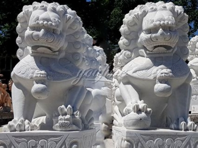 Outdoor Garden Decoration Marble Chinese guardian lions Statue MOKK-116