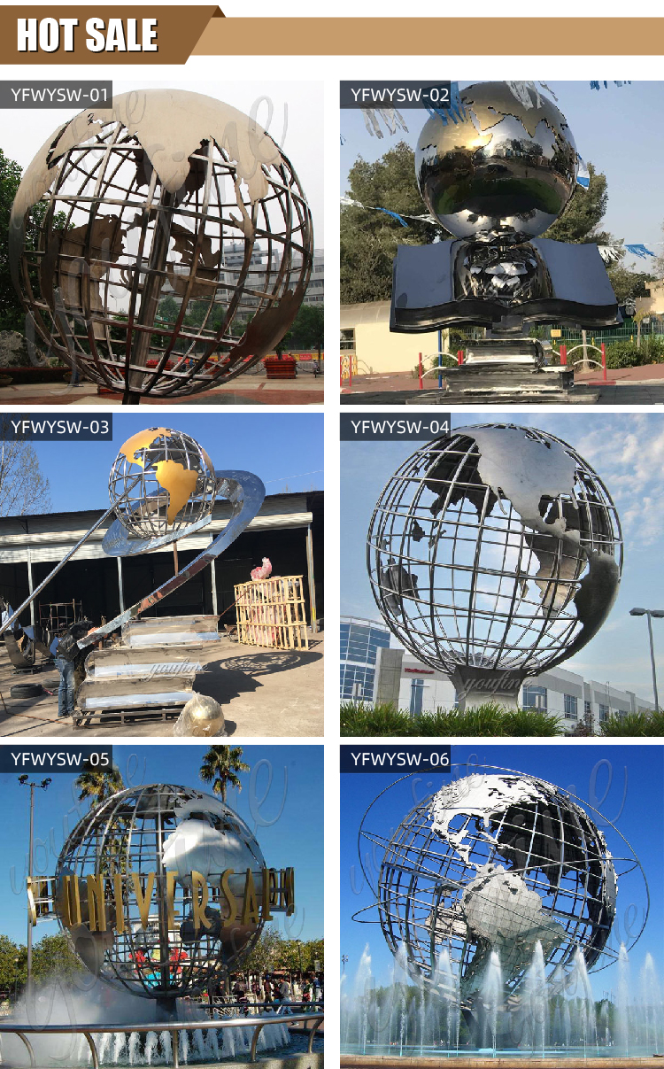 Stainless Steel Globe and Book Sculpture