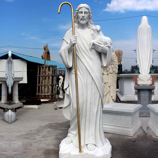 White Chapel Marble Sculpture of St. Jesus and Lamb for Sale CHS-292