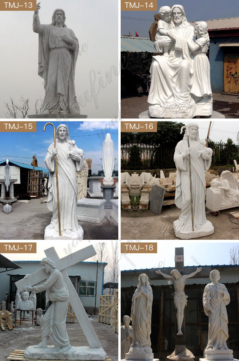 Church Decorated with White Marble Jesus Heart Sculpture