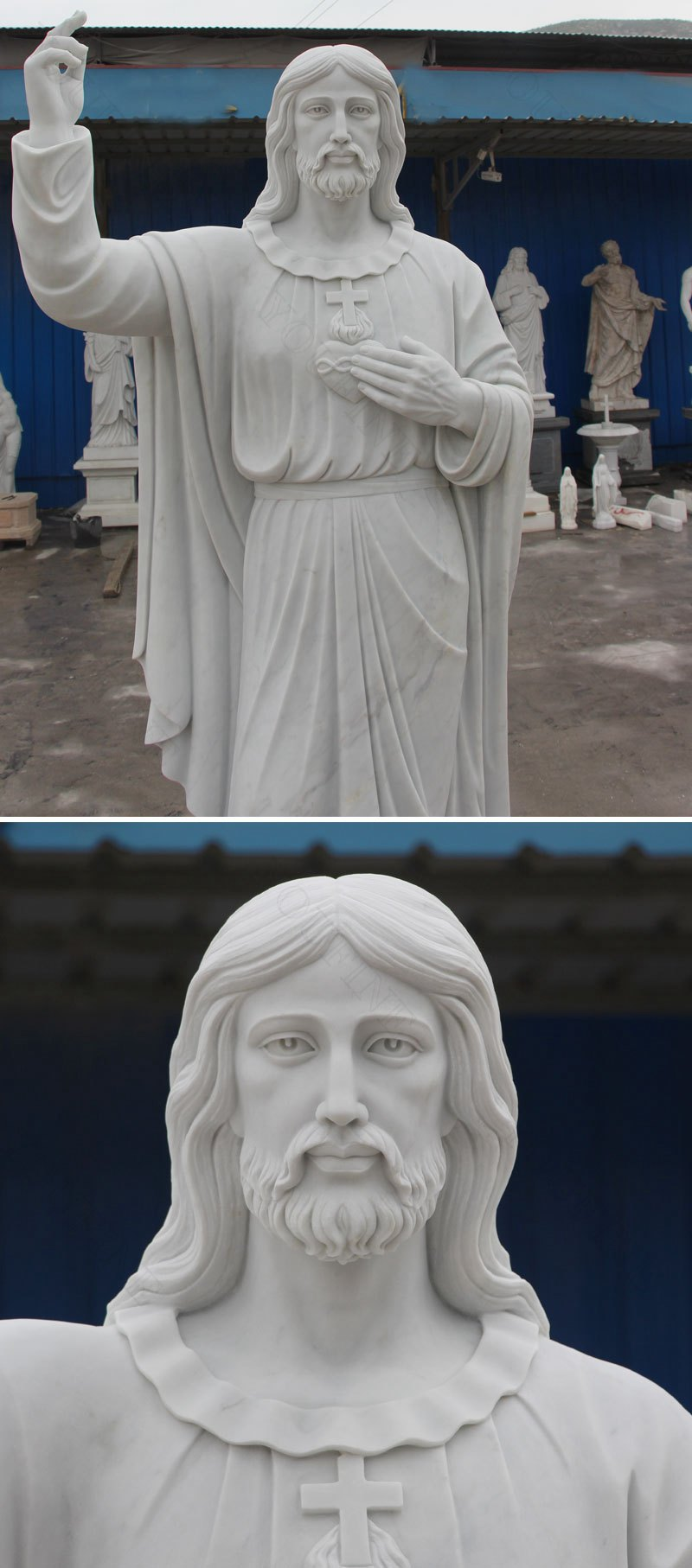 Marble Sacred Heart Sculpture