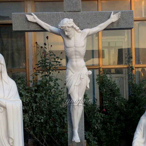 Church Life-size Marble Jesus Cross Sculpture