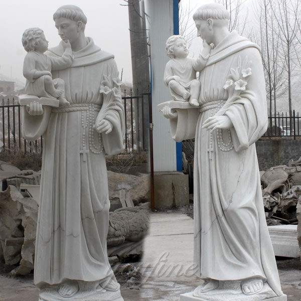 St. Joseph with Baby Jesus Marble Sculpture