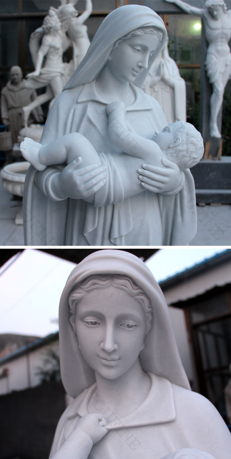 Life-size Marble Virgin Mary and Baby Jesus Sculpture for Sale CHS-285