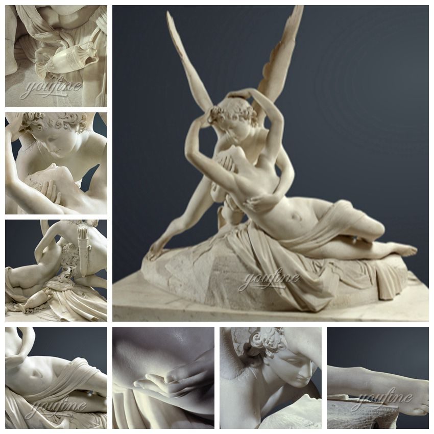 Psyche Revived by Cupid's Kiss Marble Sculpture