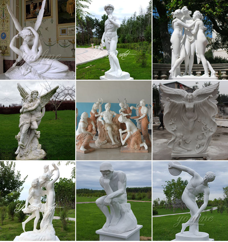Outdoor Decorative Marble Color Matching Four Season God Angel Sculpture