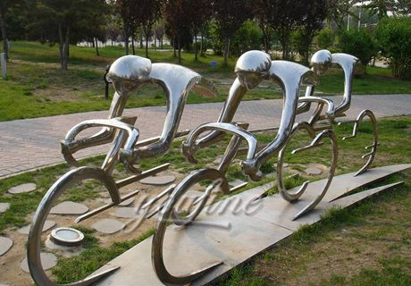 Garden Stainless Steel Bicycle Riders Statue