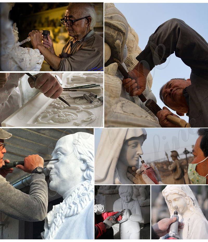 Life-size Marble Virgin Mary Sculpture