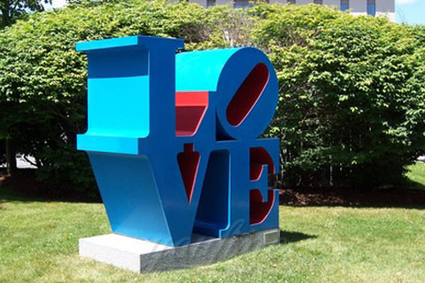 Stainless steel Love letters sculpture