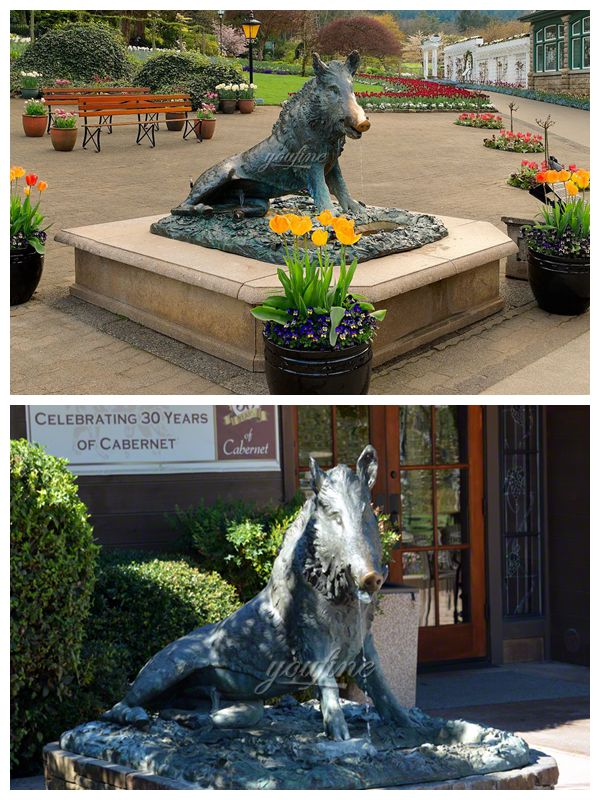 High Quality Outdoor Square Bronze Boar Sculpture for Sale BOKK-385