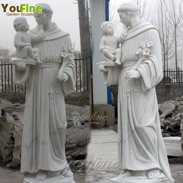 Life-size Marble Saint Anthony and Jesus Sculpture