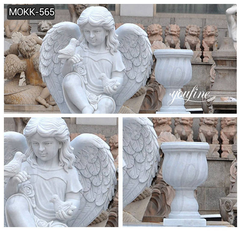 Marble Cherub and Bench Tombstone