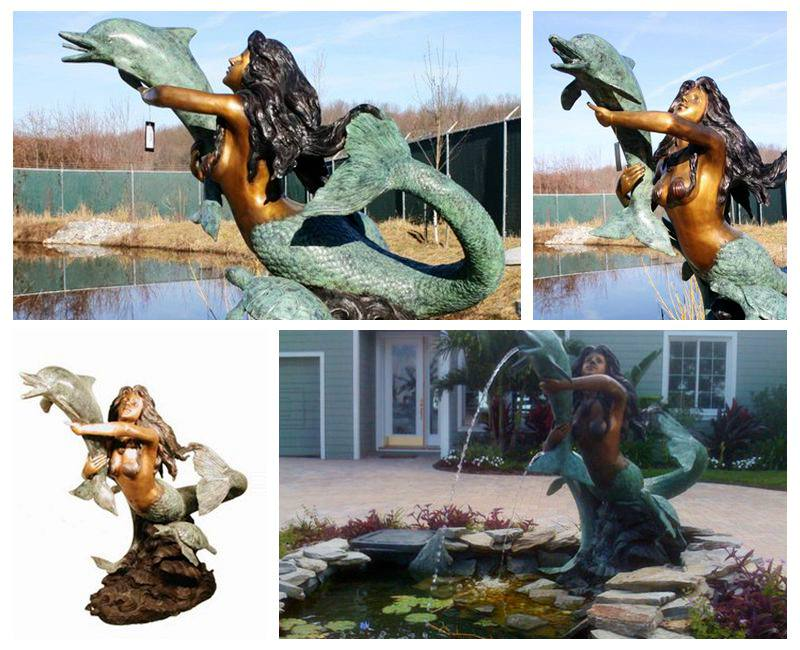 High Quality Bronze Mermaid and Dolphin Sculpture