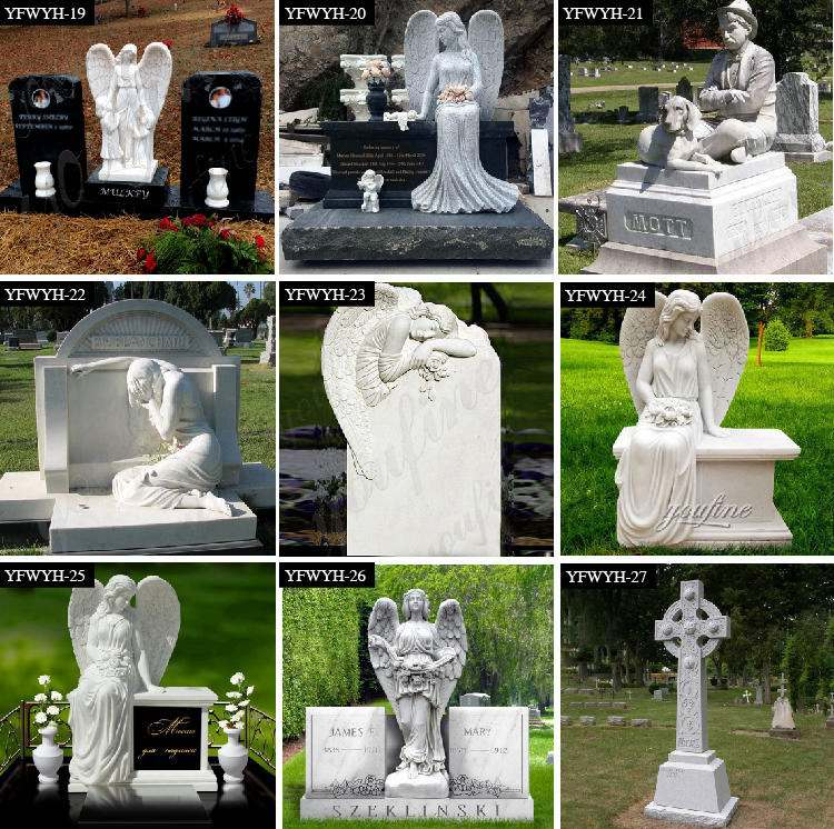 Carved Marble Angel Heart Tombstone