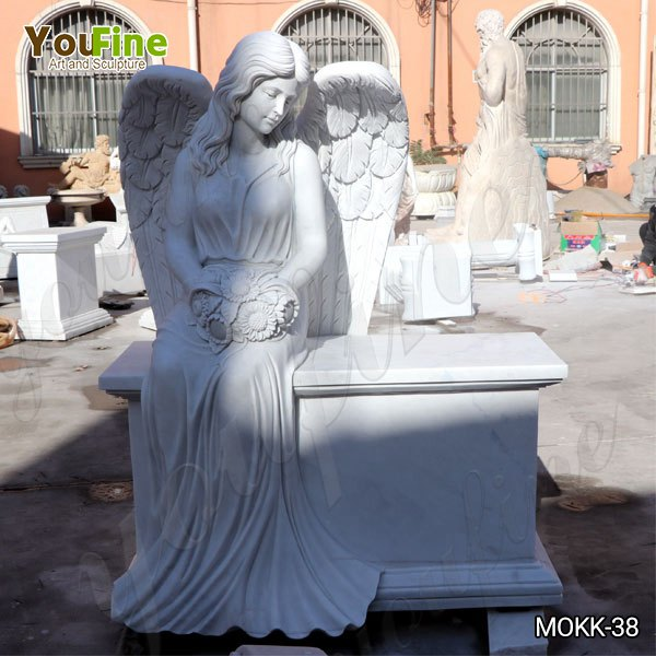 High-Quality White Marble Angel Wings Tombstone Gravestone