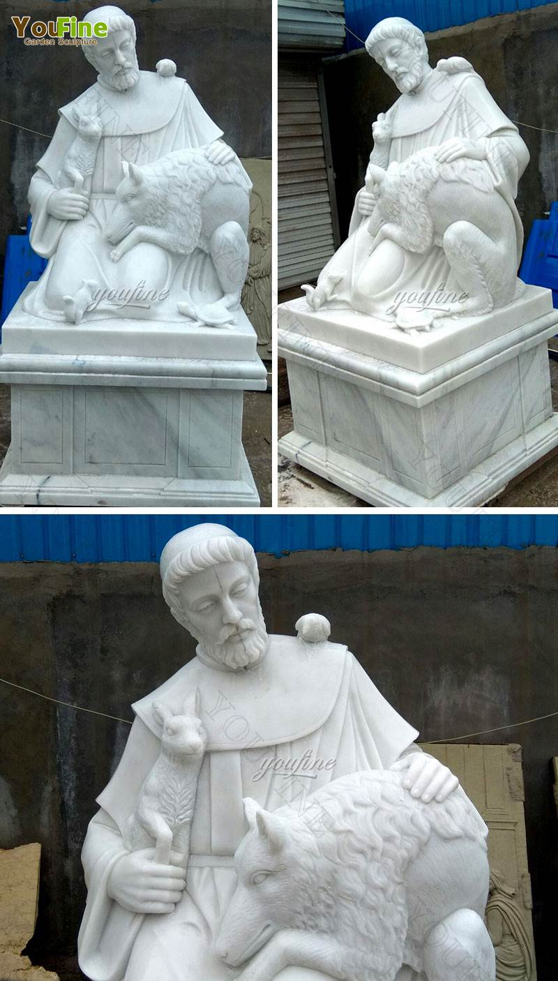 Marble Saint Francis and Animal Sculpture