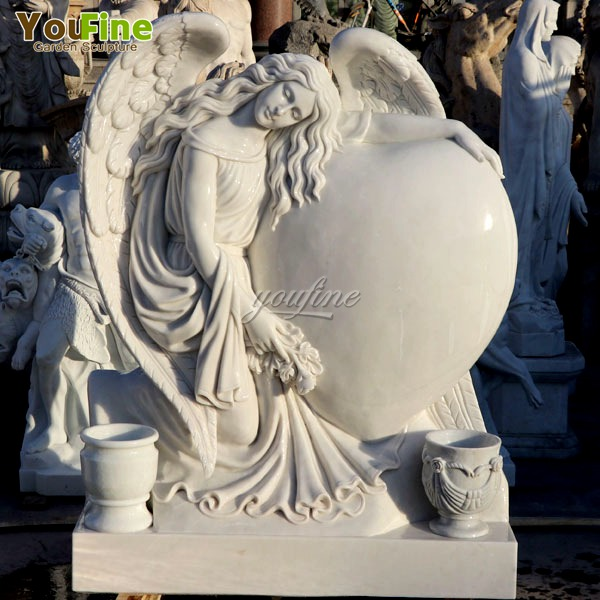 Marble Angel Heart Tombstone