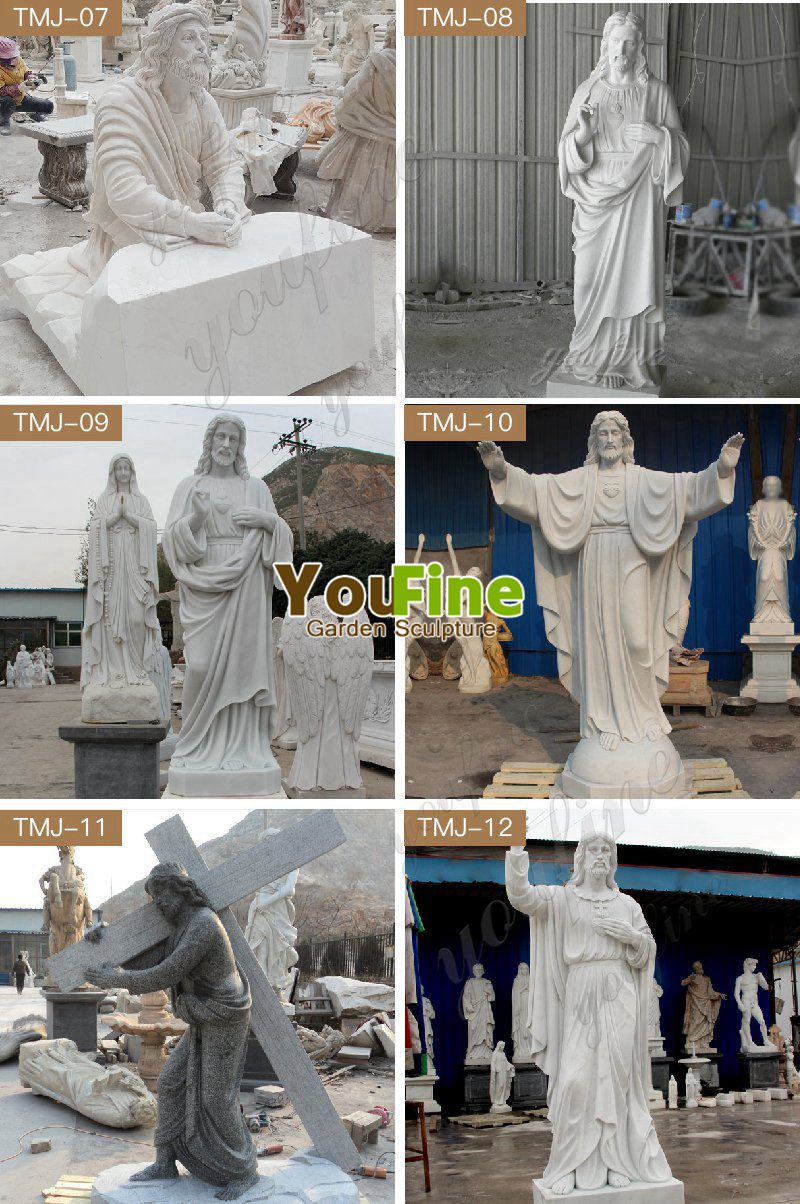 Outdoor High Quality White Marble Jesus and Angel Sculpture