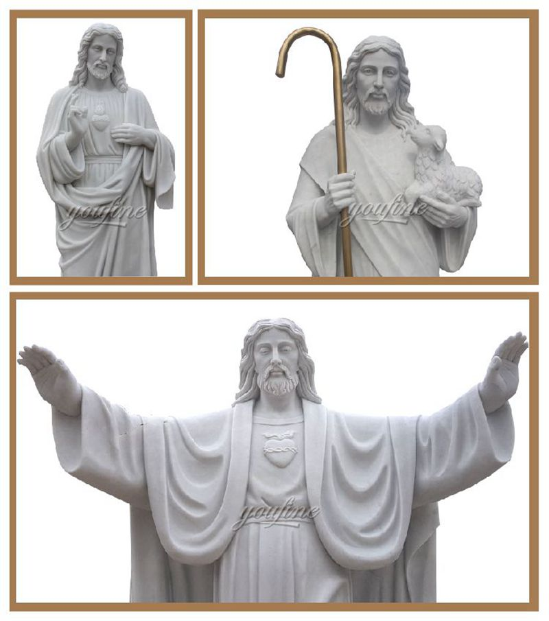High Quality Sacred Heart Jesus Marble Sculpture for Sale CHS-736