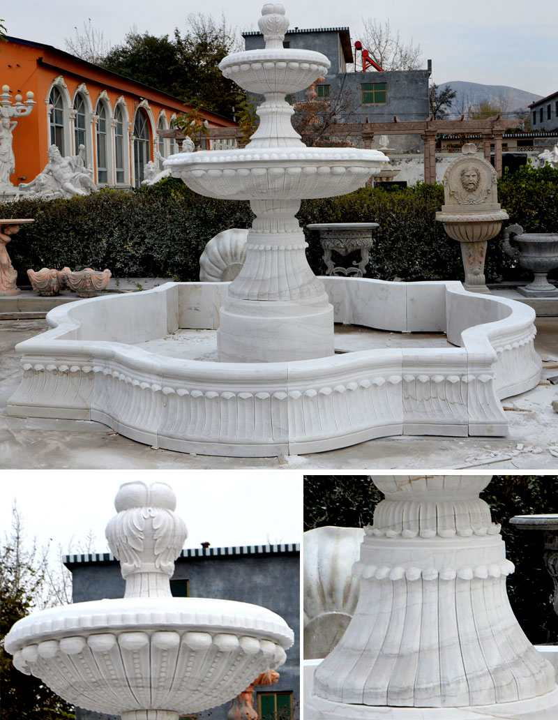 Large White Marble Multi-layer Fountain
