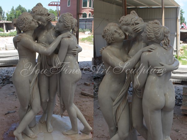 Hand Carved Marble Statue Of The Three Graces