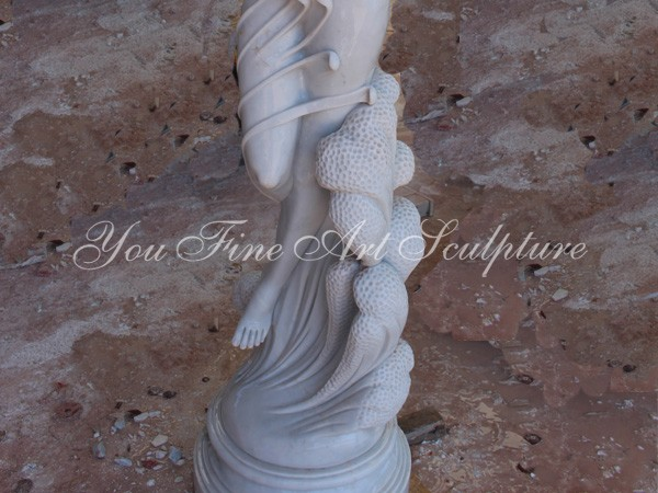 Hand carved exquisite marble girl statue for sale