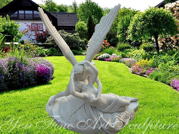 Classical Cupid and Psyche famous garden marble sculpture