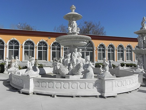 garden grand white marble water fountain with  statue