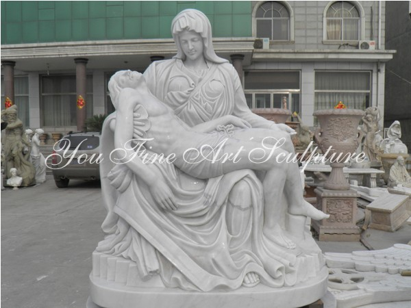 Hand carved natural marble Mourning Christ sculpture