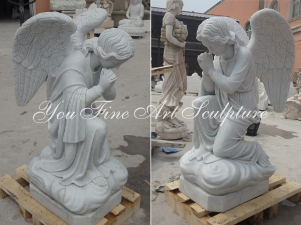 Natural marble kneel angel statue