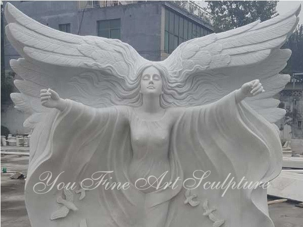 Life Size Carving White Marble Big Wing Angel